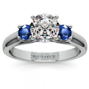 Round Sapphire Gemstone Engagement Ring in White Gold