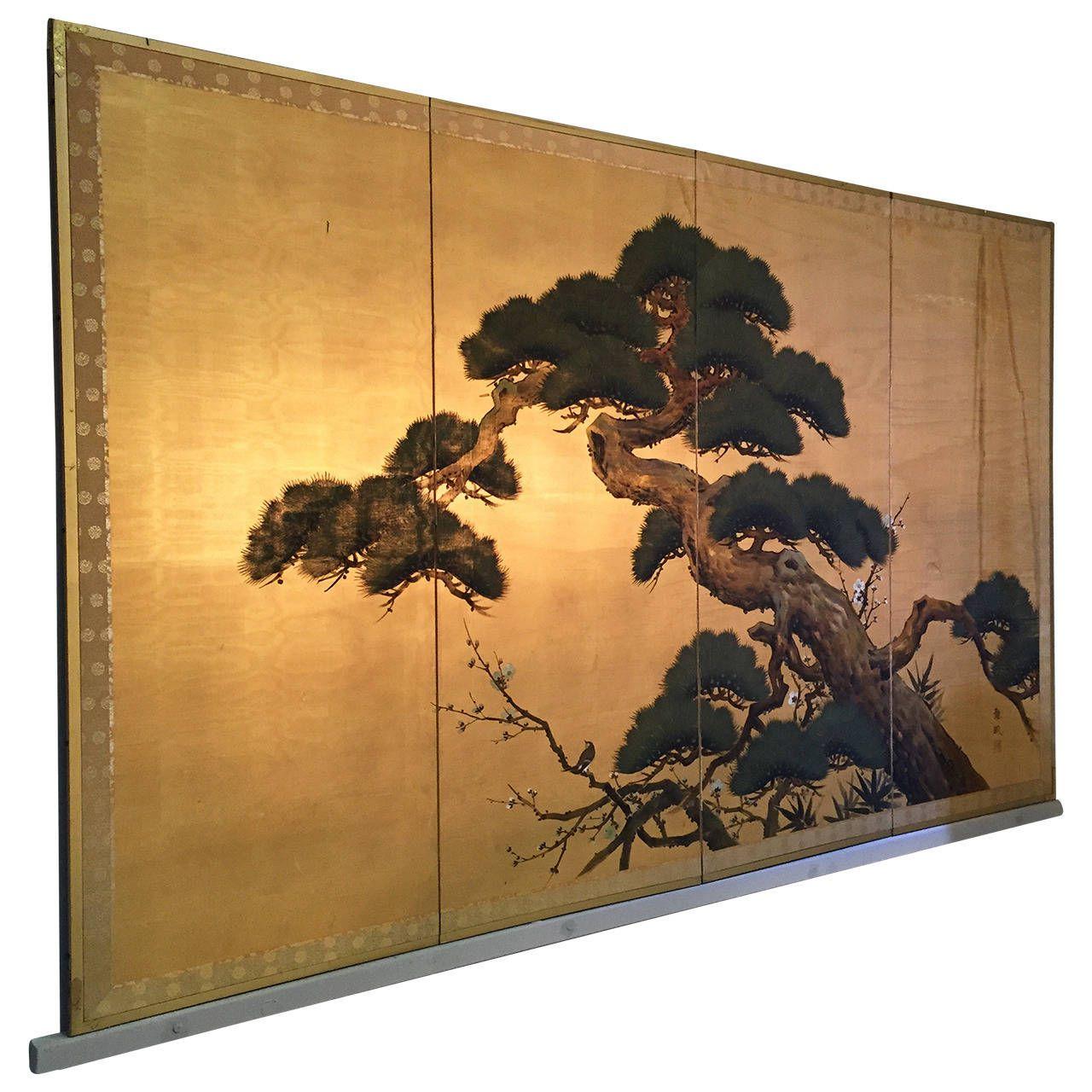 Byobu, Antique Japanese Screen Painting, Four Panels ...