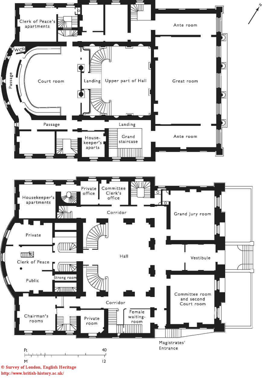 Middlesex Sessions House Ground And First Floor Plans In The 1850s Architectural Floor Plans Mansion Floor Plan Castle Plans