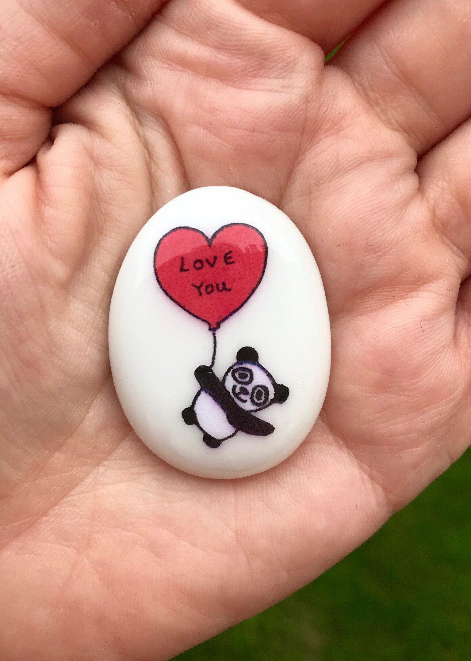ce8f4ee4368 Excited to share this item from my #etsy shop: Panda, Heart, Personalised,  Friendship, Good Luck, Keepsake, Stone, Gift, Present, Momento, Best  Friend, ...