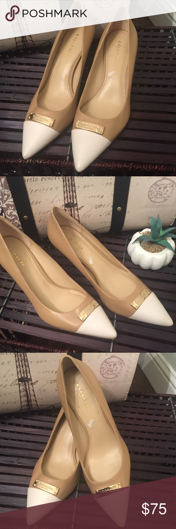 1c8a8fd4b0 COACH Nude/White Leather Pump 7 This leather pump is in great used  condition, lightly used with no signs of wear. Tan/nude leather with white  and gold ...