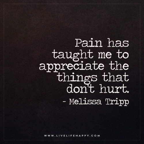Live Life Happy: Pain has taught me to appreciate the things that don't hurt. - Melissa Tripp