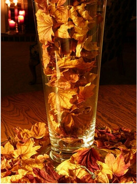 Dried Autumn Leaves In A Hurricane Glass Would Make A Simple Yet