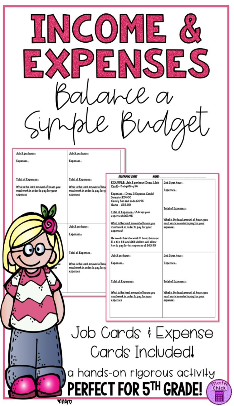 hight resolution of Income and Expenses- Balancing a Simple Budget TEK 5.10F   Budget lesson