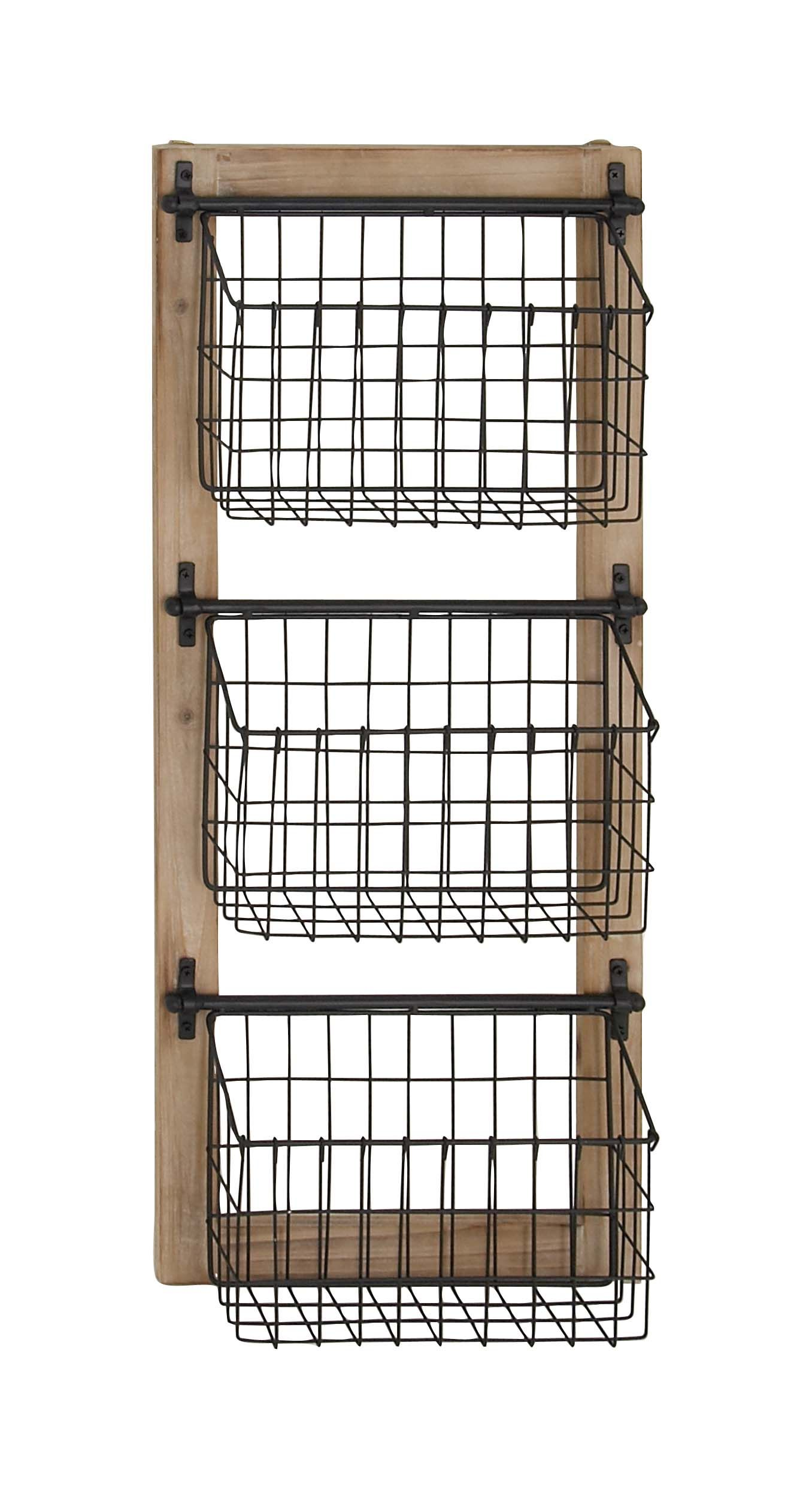 Decmode Industrial Wood And Iron 3 Tier Basket Wall Rack Black Walmart Com Baskets On Wall Home Decor Kitchen Vegetable Storage