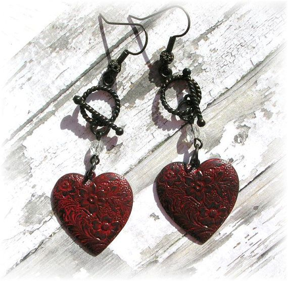 Heart Earrings Dangles Gothic Black Red Hearts Red Patina Shabby Chic Toggle Earrings Aged Brass Hooks by TheVintageHeart