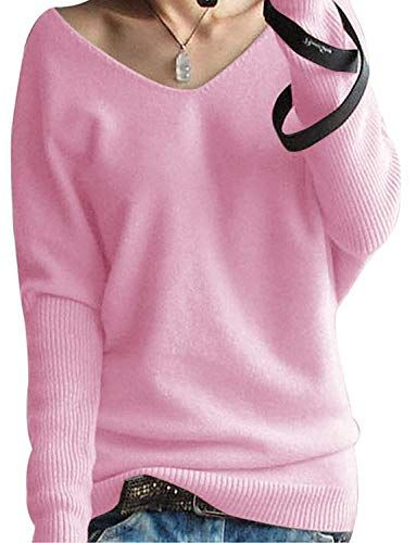 f12fef079a1 Yidarton Pull Femme Laine Maille Col V Casual Manches Longues Hiver Chaud  Pullover Sweater Top Blouse