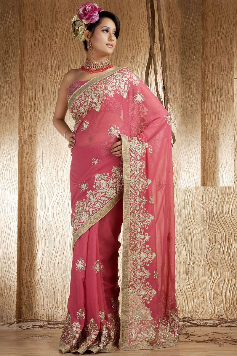 Deep Pink Shimmer Georgette Wedding Saree   Wedding sarees, Saree ...
