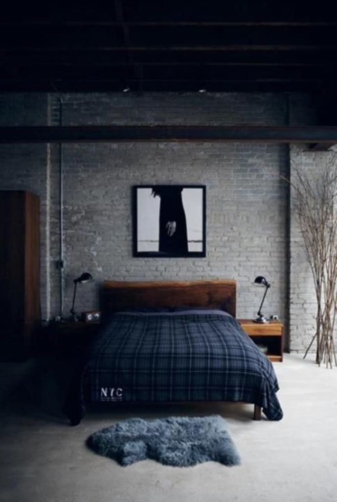 Bedside tables black lamps dark walls 25