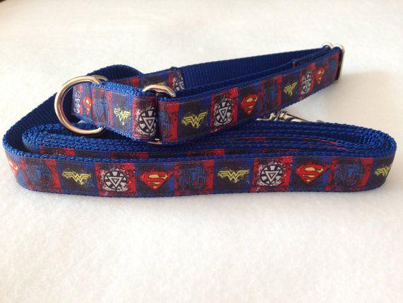 Superhero Dog Collar, Superhero Martingale Collar, Superhero Leash, Martingale Dog Collar, Vintage Look Dog Collar