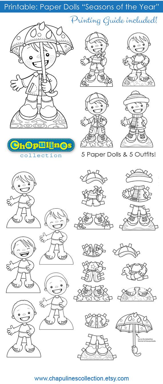 Paper Dolls - Printable - Seasons of the Year - Boys - B/W ...