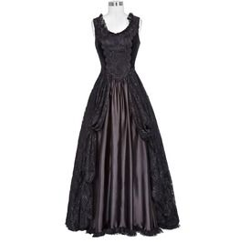 Gothic Black Lolita Lace Satin Sleeveless Dresses #blacksleevelessdress