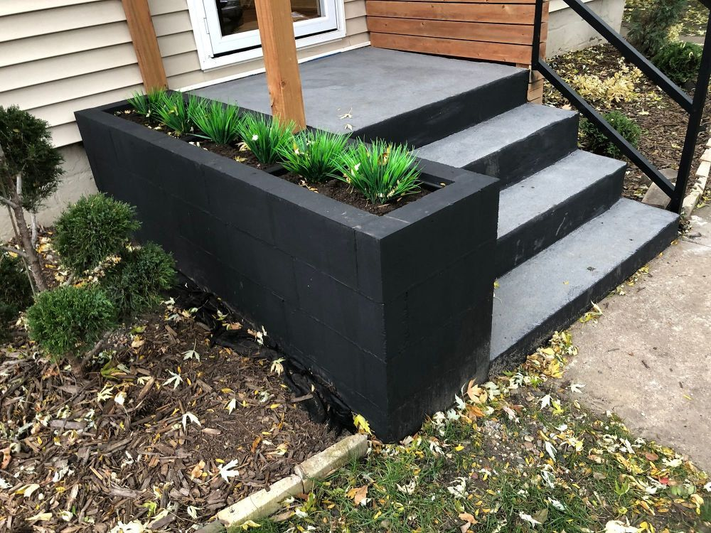 Cinder Block Entryway Planter Cement Planters Planters Concrete Planters