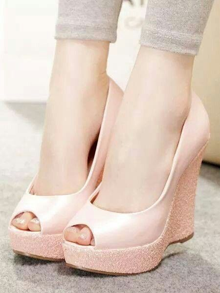 Nice Light Pink Wedge Heels Prom Shoes Pink Wedding Shoes Wedges