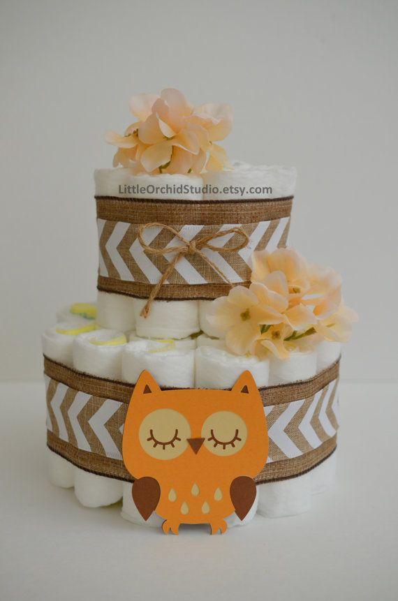 Owl Woodland Theme/ Forest Friend/ Woodland Baby Shower/ Owl Diaper Cakeu2026