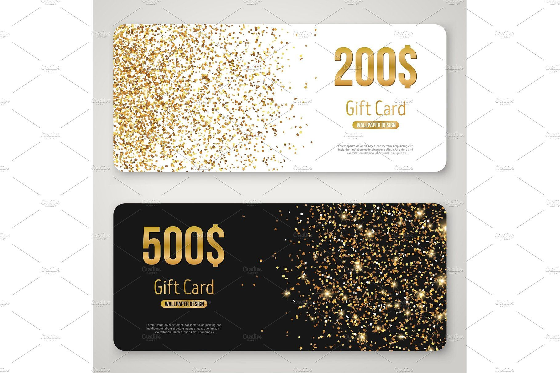 Gift Card Design With Gold Glitter Texture Gift Card Template Gift Card Design Vip Card Design
