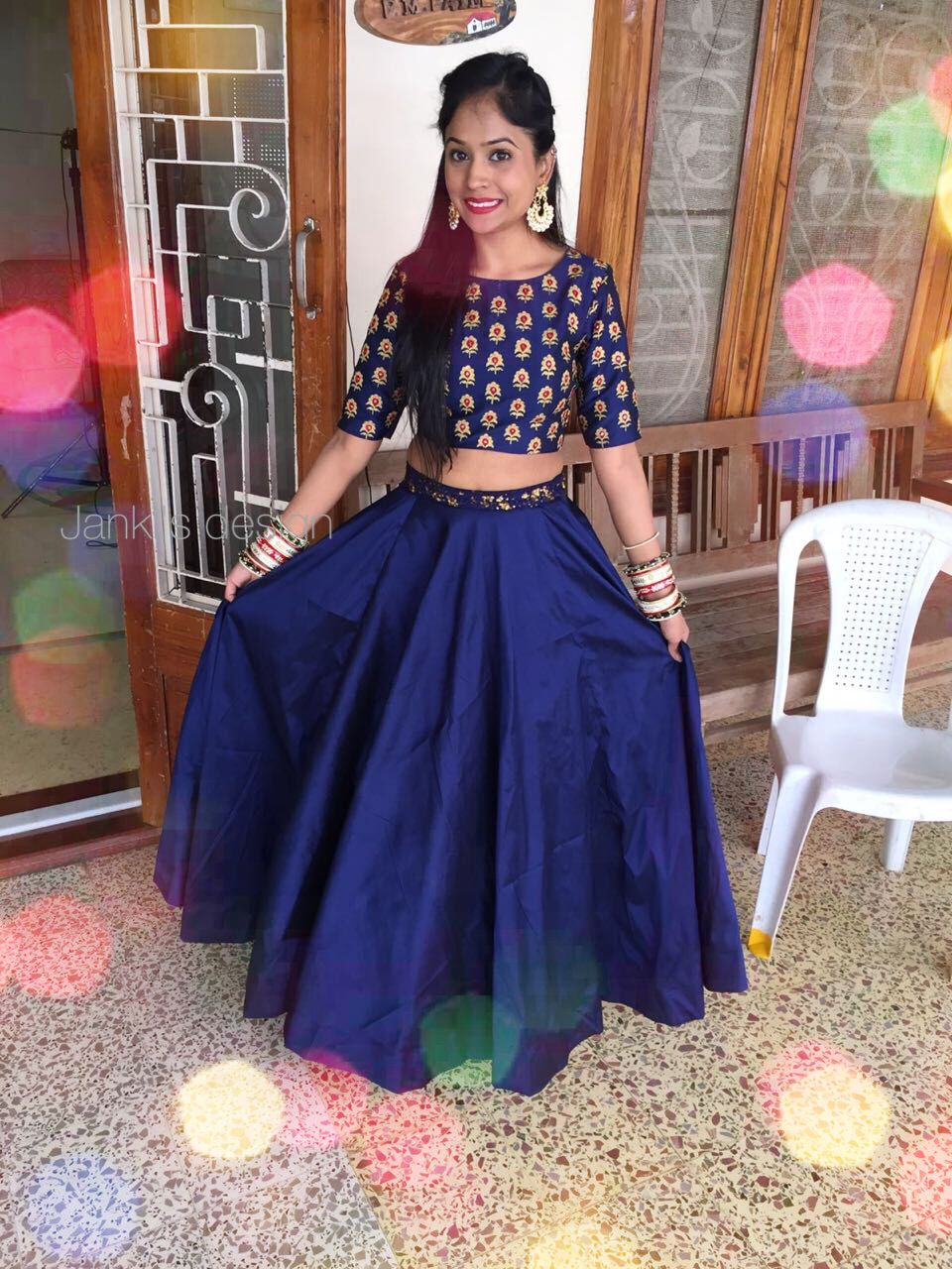 70a9b96a79 Blue Indian crop top for wedding by Janki's design | skirt | Indian ...