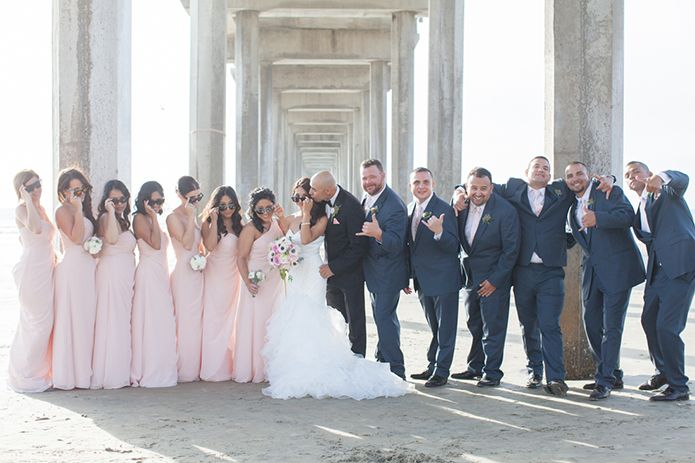 Scripps Seaside Forum Wedding Party In Blush Pink And Navy By The