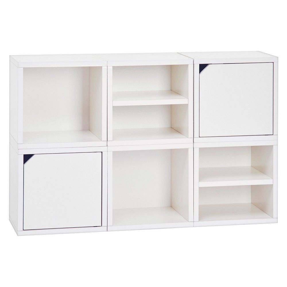 Way Basics Stackable Connect Cube 6 Cubby Modular Storage System   White