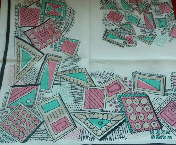Vintage Mod 50s Tablecloth