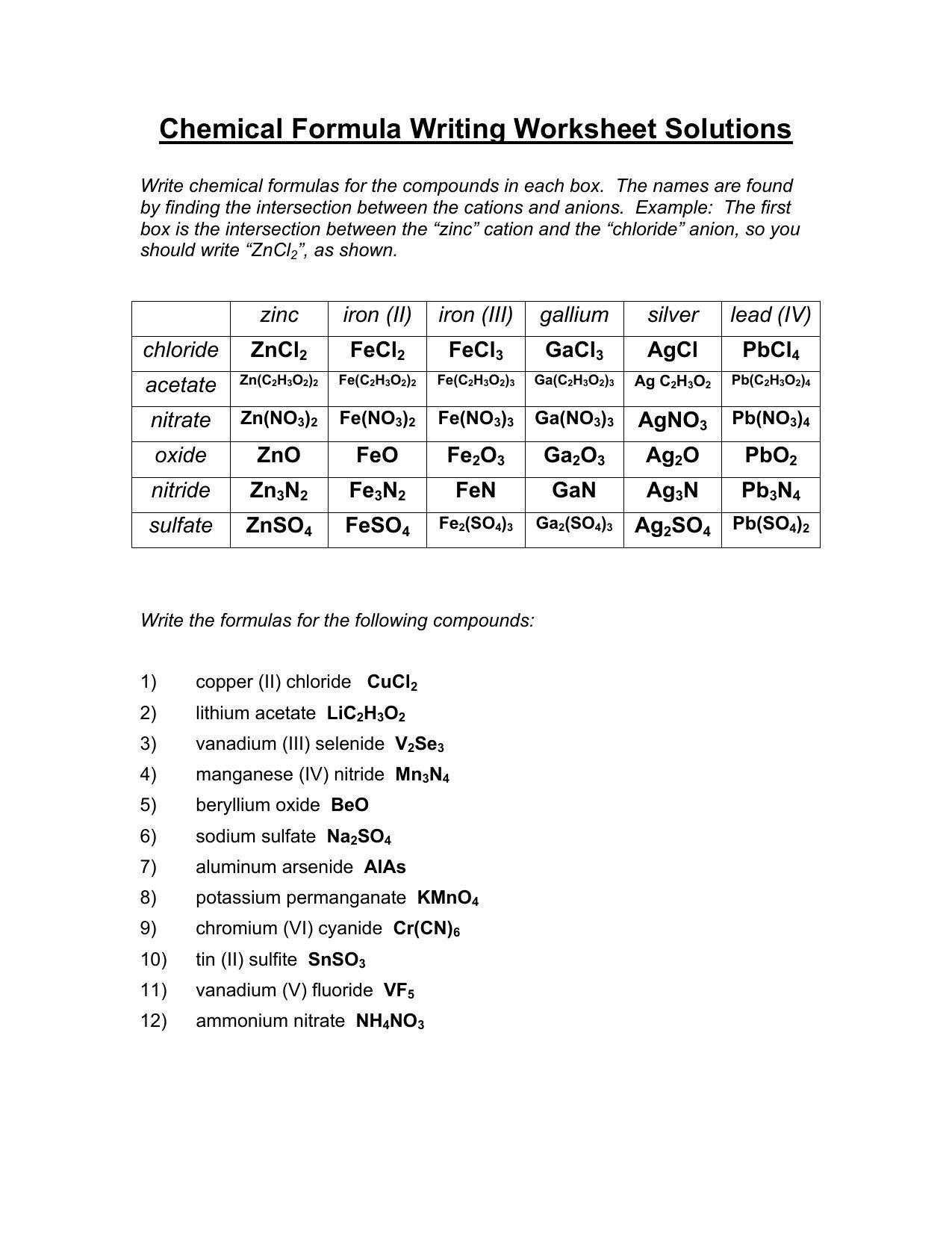 Prime Chemical Names and formulas Worksheet Answers