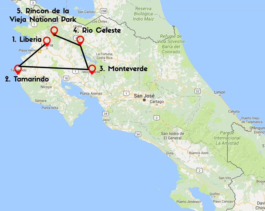 rio celeste costa rica map 14 Days Costa Rica Itinerary Tamarindo Monteverde Bijagua And rio celeste costa rica map