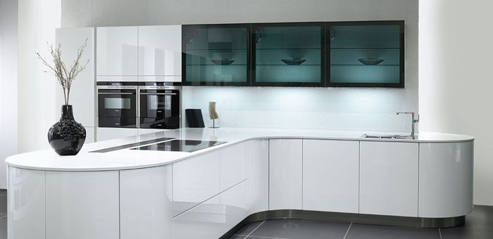 Pronorm kitchens are a leading German brand and this is the latest from their curved kitchen range. Pronorm are one of the first to introduce curves as German kitchens tend to be straight lines.