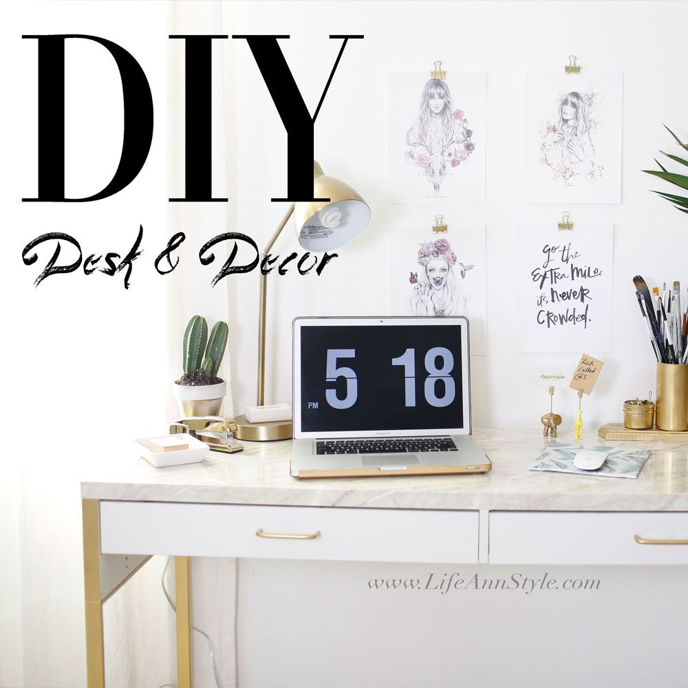 Ikea Marble Desk Hack Easy Office Organizational Diys