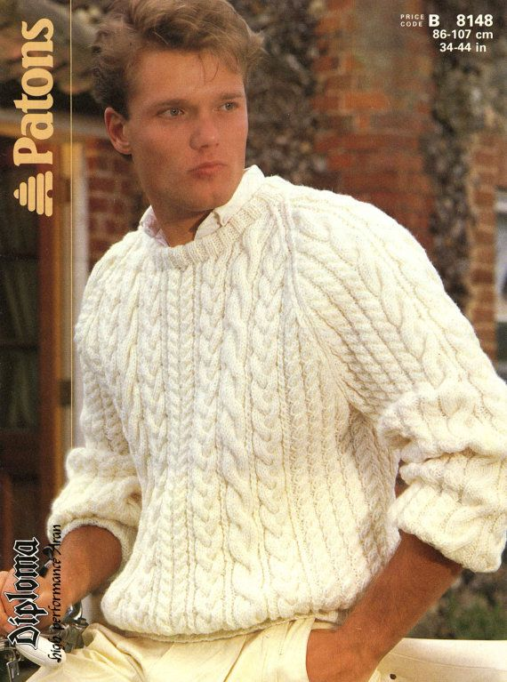 Vintage Mens Cable Sweater Knitting Pattern1960 Pdf Pattern