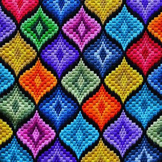 bargello | This colourful pillow was made by my mother some … | Flickr