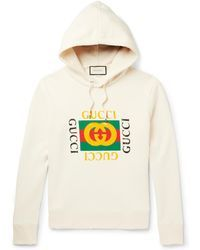 bf6b3fcb Gucci - Printed Loopback Cotton-jersey Hoodie - Lyst | Sweatshirts ...