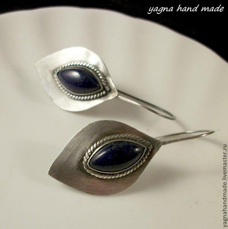 Купить Лилии с ляписом - серебряные серьги c ляпис-лазури - тёмно-синий, серьги из серебра