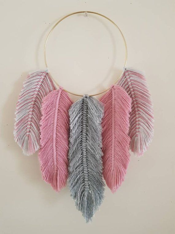 Macrame Feathers Dreamcatcher Grey glitter and Rose Pink   Etsy
