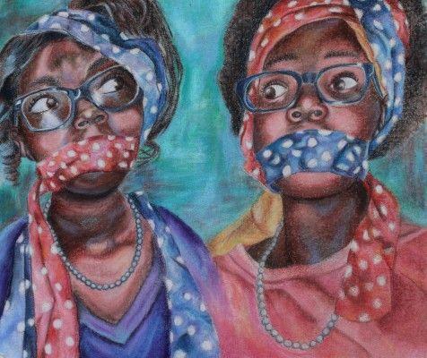 "Nia Campbell, ""All Tied Up"". Henrico High School, Richmond, VA.  Art teacher: Genevieve Dowdy"