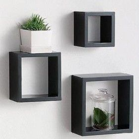 3 Black And 3 White To Go On The Wall Floating Cube Shelves Floating Shelves Cube Wall Shelf
