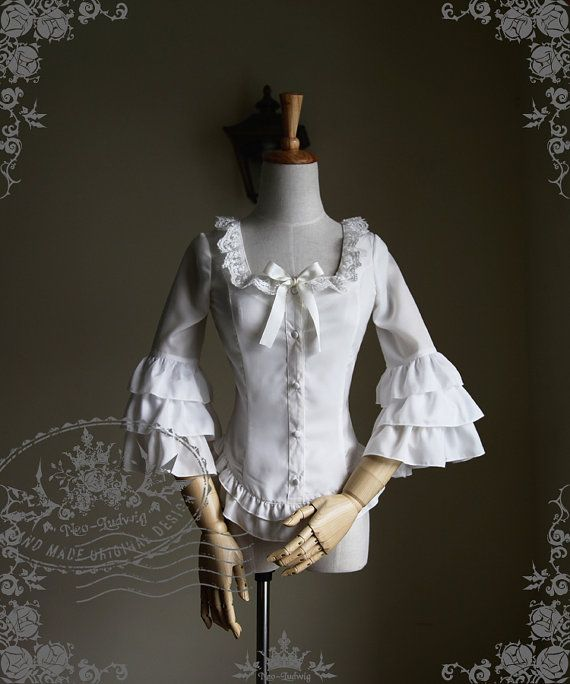 White cotton high neck bib pleat ruffle blouse victorian steampunk work lolita