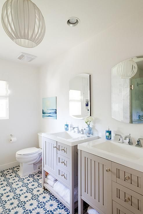Gorgeous Bathroom Features A Pair Of Matching Side By Side