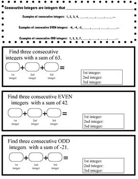Consecutive Integer Problems Foldable With Images Integer