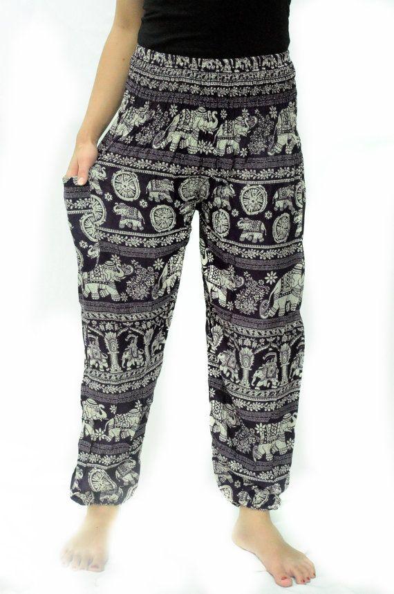 c42e71cb17f81 Elephant pant egypt india asia pattern harem Bohemian Yoga pant light  weight trouser holiday pant oriental Asian style Free size Comfy