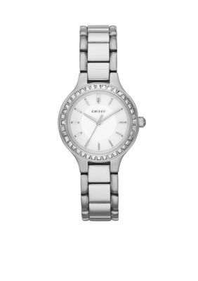 DKNY  Womens Stainless Steel Chambers Three-Hand Glitz Watch