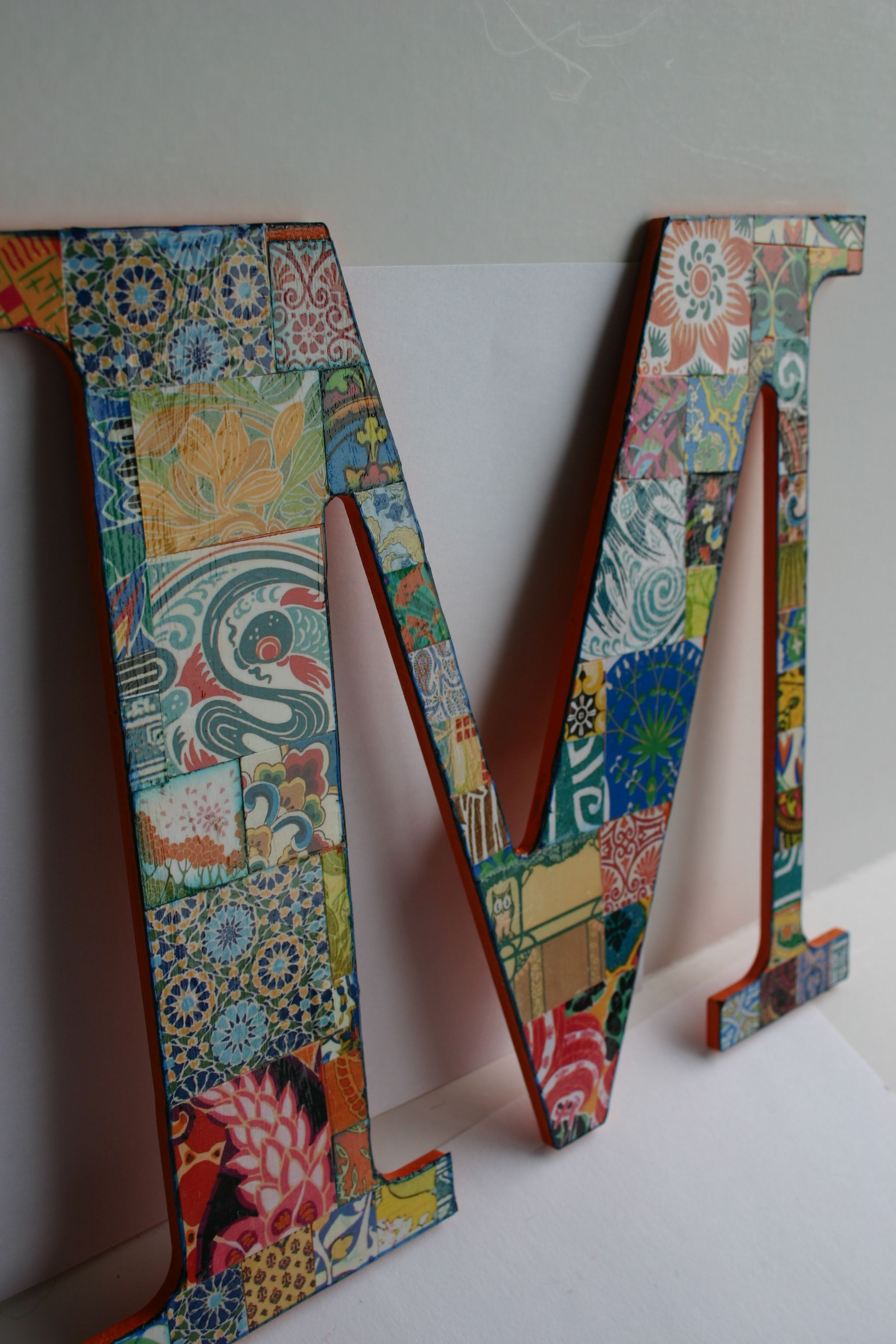custom letter M. These are wood letter decoupaged with Dover patterned papers. Visit my Etsy store-Dulcet Whimsy