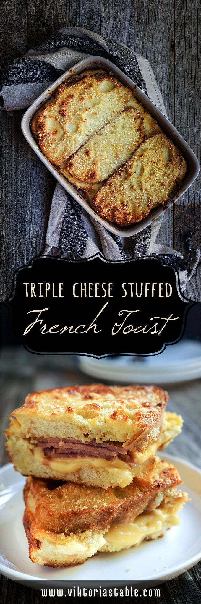Triple cheese stuffed French toast - protein packed, and delicious, this recipe is a healthier alternative to the sweet fried French toast | www.viktoriastable.com