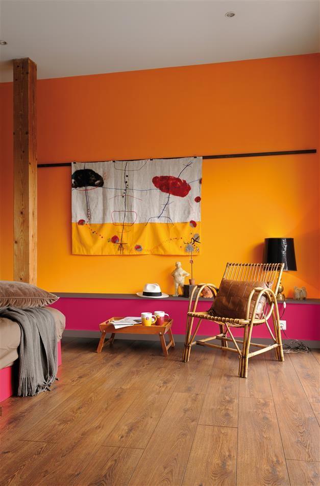 Accents exotiques #peinture #zolpan #chambre #jaune #rose Maison
