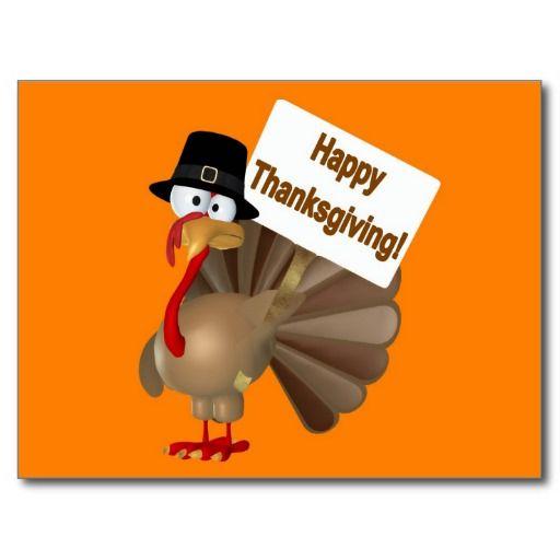 Funny Turkey Saying Happy Thanksgiving Postcard