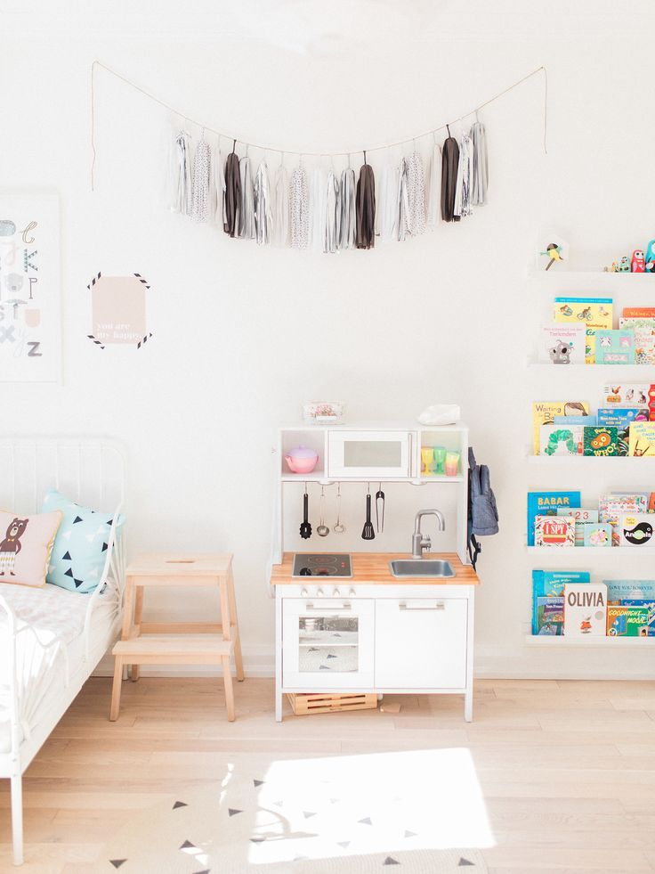ikea hack play kitchen in scandinavian shared kids room light filled pastel baby - Ikea Shared Kids Room