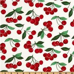 Michael Miller Fruits & Vegetables My Cherry White
