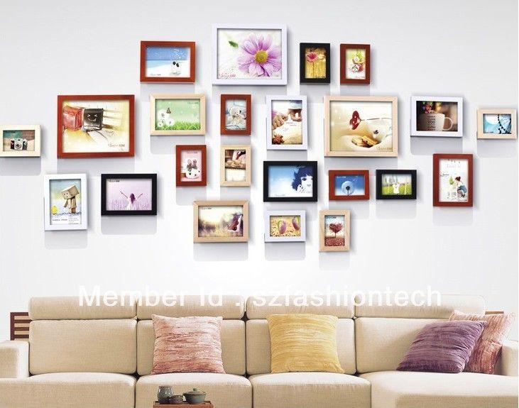 23 bo te murale en bois massif de combinaison de cadre - Tableau sur mur blanc ...