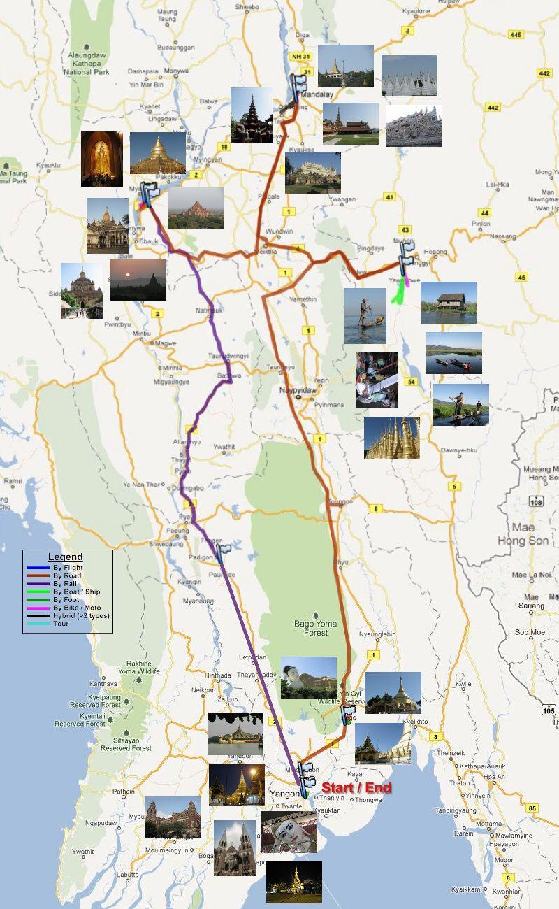 Travel Route Map For Myanmar Burma Trip Reizen