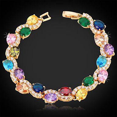 luksus kvinders 18k guld platin forgyldt armbånd kvalitet AAA høj + zircon cubic zirconia udsøgte smykker gave – DKK kr. 83