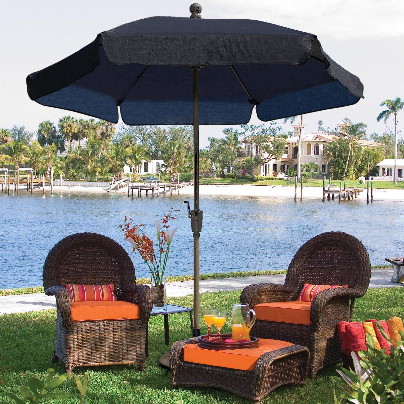 6da9118bee929 FiberBuilt 7.5-ft. Wind Resistant Garden Umbrella Forest Green in ...